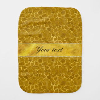 Personalized Gold Foil Giraffe Skin Pattern Baby Burp Cloths
