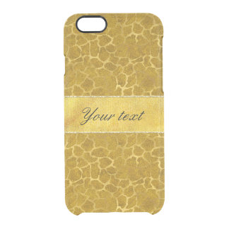 Personalized Gold Foil Giraffe Skin Pattern Clear iPhone 6/6S Case