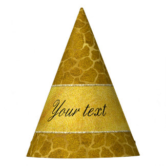 Personalized Gold Foil Giraffe Skin Pattern Party Hat