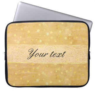 Personalized Gold Foil Stars Watercolor Laptop Sleeve