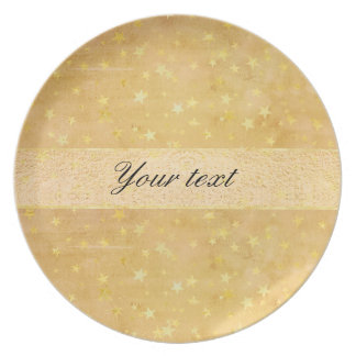 Personalized Gold Foil Stars Watercolor Party Plates