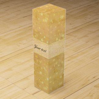 Personalized Gold Foil Stars Watercolor Wine Box