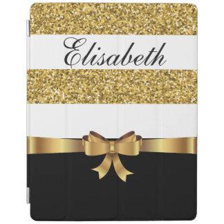 Personalized Gold glitter Black  white Stripes BOW iPad Cover