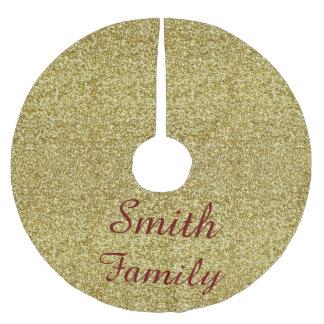 Personalized Gold Glitter Christmas Tree Skirt