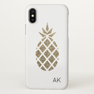 Personalized Gold Glitter Pineapple iPhone X case