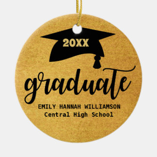 Personalized Gold Graduation Mortar Board Ceramic Ornament