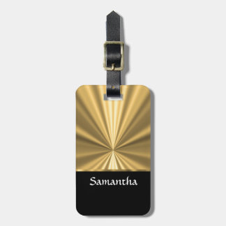 Personalized gold look and black bag tag
