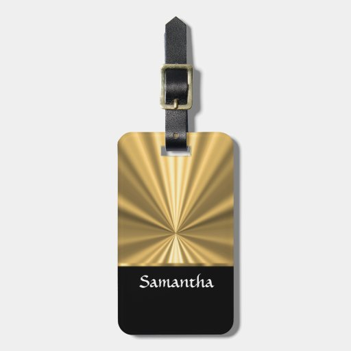 Personalized gold look and black travel bag tag