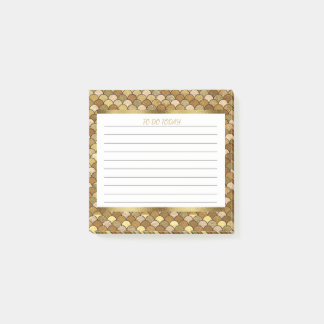 Personalized Gold Mermaid Scales 3x3 Post-it Notes