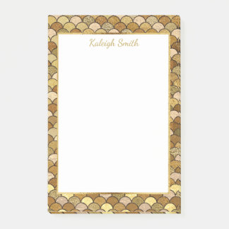 Personalized Gold Mermaid Scales Post-it Notes