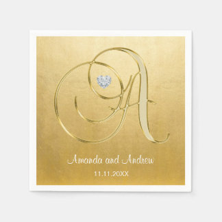 Personalized Gold Monogram Initials Diamond Heart Disposable Napkins