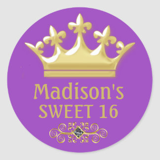 Personalized Gold Princes Crown on Purple Sweet 16 Classic Round Sticker