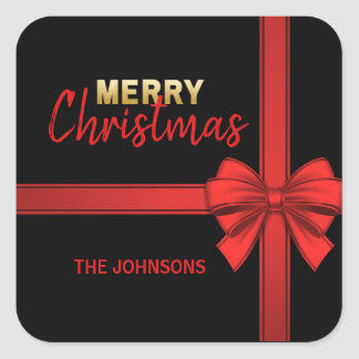 Personalized Gold RED Black Bow Christmas Holiday Square Sticker