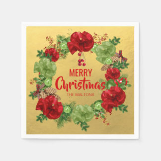 Personalized Gold Red White Wreath Merry Christmas Disposable Napkins