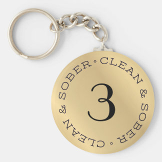Personalized Gold Sobriety Anniversary Key Chain