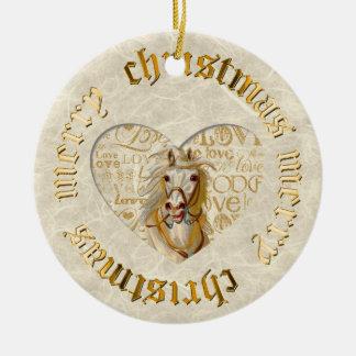 Personalized Gold Vintage Horse Ceramic Ornament