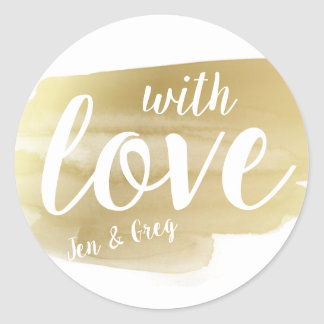 Personalized Gold Watercolor With Love Sticker
