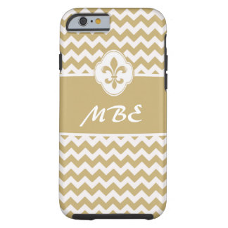 Personalized Gold White Fleur de Lis Chevron Tough iPhone 6 Case