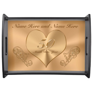 Personalized Golden Anniversary Gifts for Parents Serving Tray