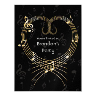 Personalized Golden Heart Musical Notes Birthday 11 Cm X 14 Cm Invitation Card