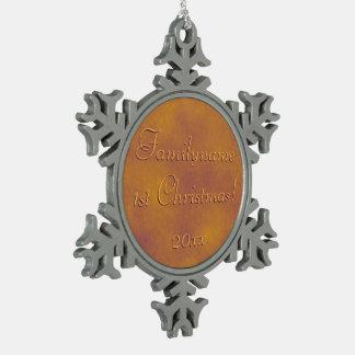 Personalized Golden Plum Sky Snowflake Ornament