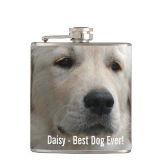 Personalized Golden Retriever Dog Photo and Name Flasks