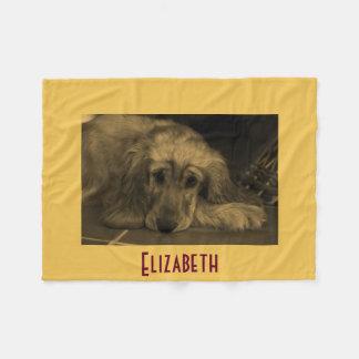Personalized Golden Retriever Fleece Blanket