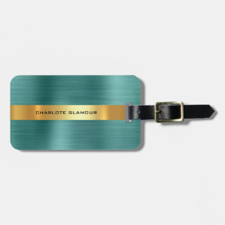 Personalized Golden Stripes Teal Tropic Minimalism Luggage Tag
