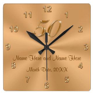 Personalized Golden Wedding Anniversary Gift Clock