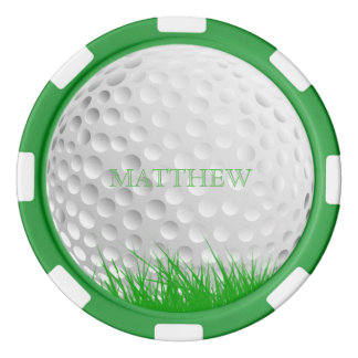 Personalized Golf Ball in Grass Marker Poker Chips