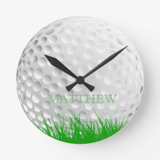 Personalized Golf Ball in Grass Round Clock