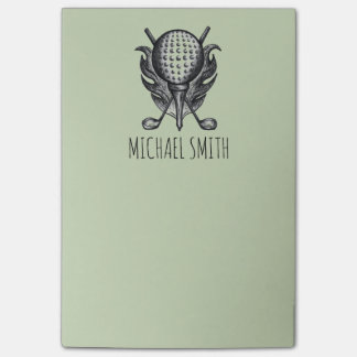 Personalized Golf Ball Tee Club Golfer Post Its Post-it Notes