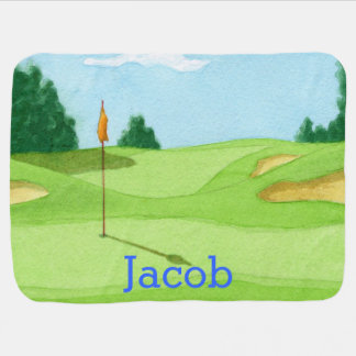 Personalized Golf Course Green Baby Blanket