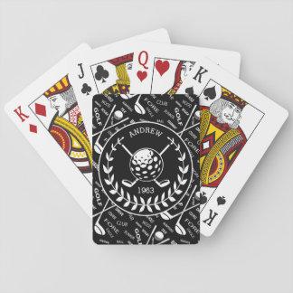 Personalized golfer stylish golf logo playing cards