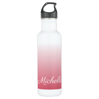 Personalized gradient ombre salmon pink 710 ml water bottle