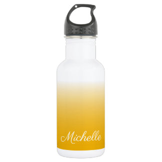 Personalized gradient ombre yellow 532 ml water bottle