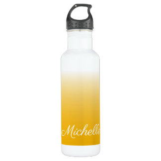 Personalized gradient ombre yellow 710 ml water bottle