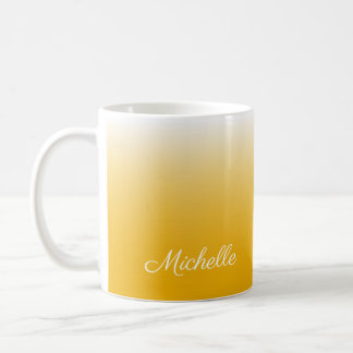 Personalized gradient ombre yellow coffee mug