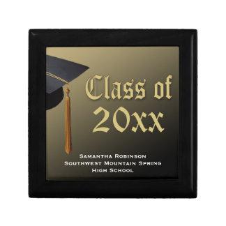 Personalized Graduation Keepsake Box, Black/Gold Gift Box
