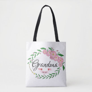 Personalized Grandma Established Flower Wreath Tote Bag
