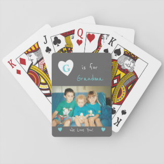 Personalized Grandma grey and turquoise photo Playing Cards