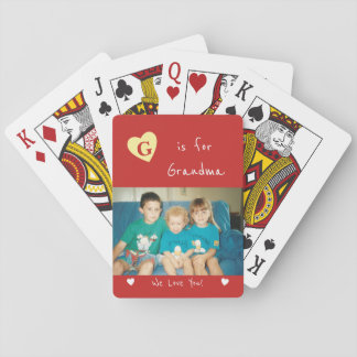 Personalized Grandma red photo Playing Cards