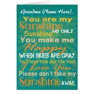 Personalized Grandma, You are my Sunshine Greeting Card