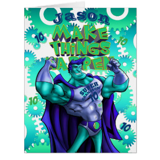 Personalized GRANDSON Card | Name AGE | SUPERHERO