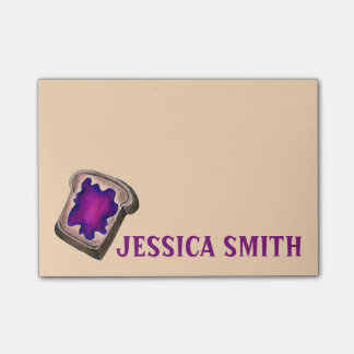 Personalized Grape Jam Jelly Toast Foodie Post Its Post-it Notes