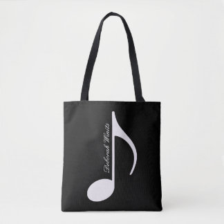 personalized graphic musical note tote with name