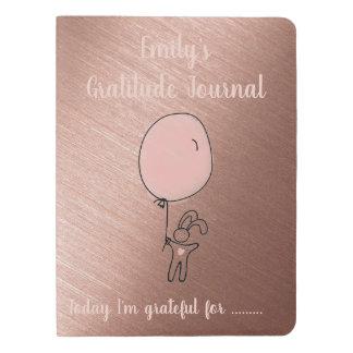Personalized Gratitude Journal Rose Gold Rabbit