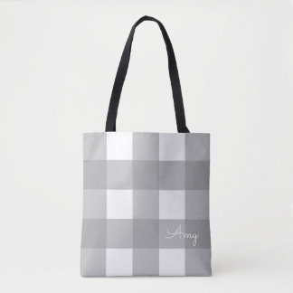 Personalized Gray and White Buffalo Check Tote
