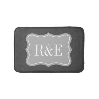 Personalized gray and white monogram bath mat
