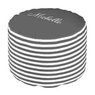 Personalized gray and white stripe pattern pouf